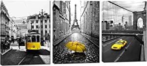3 Panels Stretched and Framed Gray and Yellow Paris Decor - Eiffel Tower Wall Art Painting on Canvas Ready to Hang for Living Room Bedroom Office (Big Yellow)
