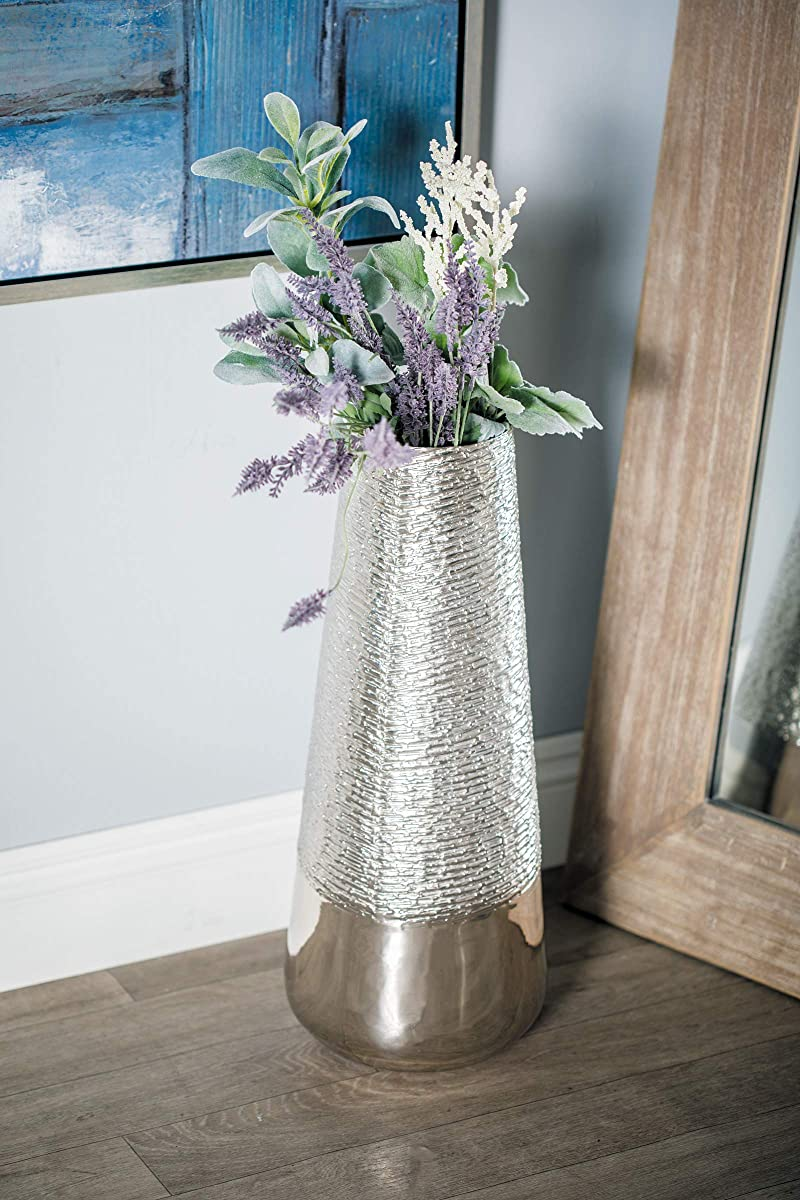 """Deco 79 Glam Metal Cylindrical Floor Vase, 9"""" W x 22"""" H, Silver"""