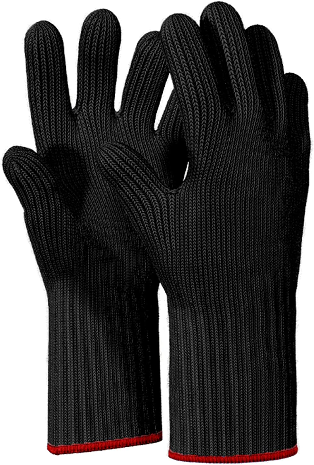 1 PAIR Long Heat Resistant Gloves Oven Gloves Heat Resistant With Fingers Oven Mitts Kitchen Pot Holders Cotton Gloves Long Kitchen Gloves Double Oven Mitt Set Oven Gloves With Fingers (Black, 2 pcs)