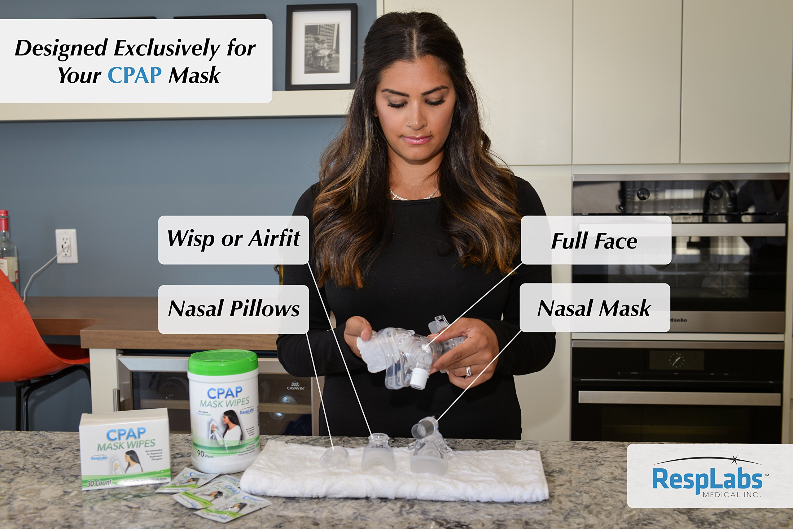 CPAP Mask Cleaning Wipes - 90 Pack + Travel Wipe | The Original Unscented Cleaner and Sanitizer for Masks | Equipment & Machine Supplies by RespLabs by RespLabs Medical Inc. (Image #3)