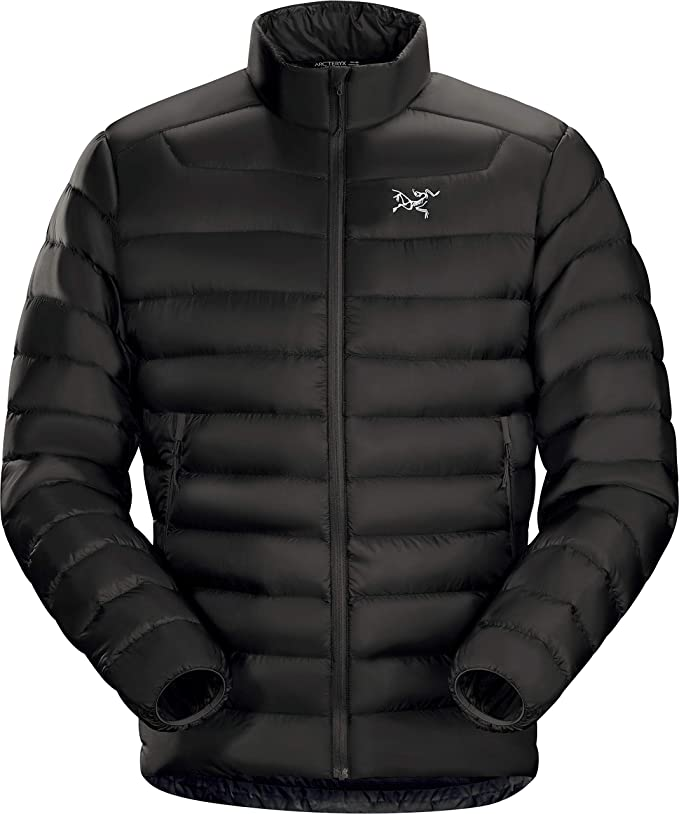 Photo of a bulky insulated black jacket, with chin guard, on a white background.
