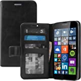 Nokia Lumia 640 Cover, DMG Premium Leather Magnetic Wallet Case with Detachable Back Cover Case for Nokia Lumia 640 (Black)