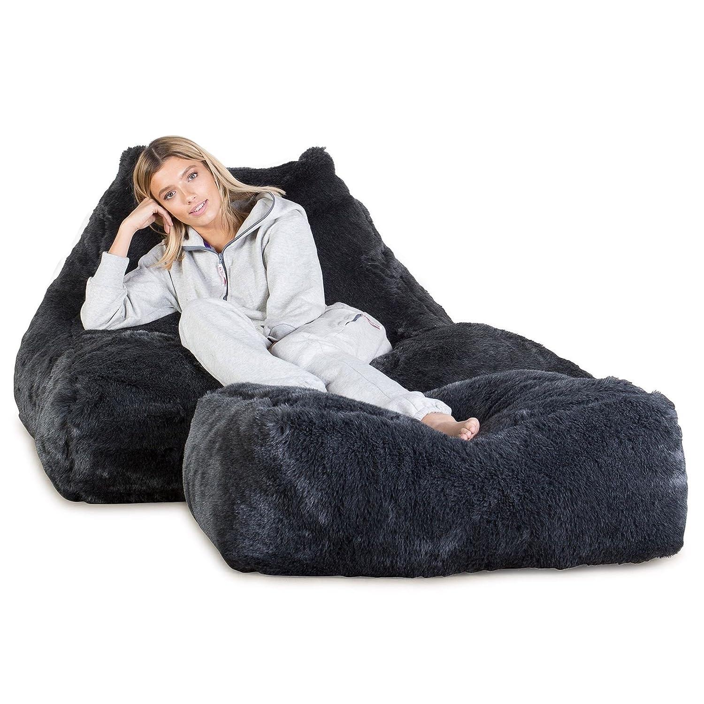 3037c4644cd0 Lounge Pug® - MEGA LOUNGER - Fluffy FAUX FUR - GIANT Bean Bag Chair -  Beanbag - BADGER Black  Amazon.co.uk  Kitchen   Home