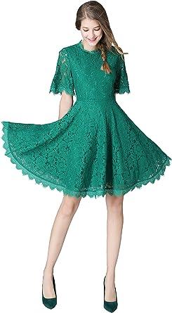 RRINSINS Womens V Neck Backless Long Sleeve Lace Patchwork Maxi Dress