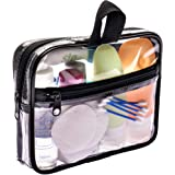 TSA Approved Toiletry Bag 3-1-1 Clear Travel Cosmetic Bag with Handle - Quart Size Bag with Zipper - Carry-on Luggage…