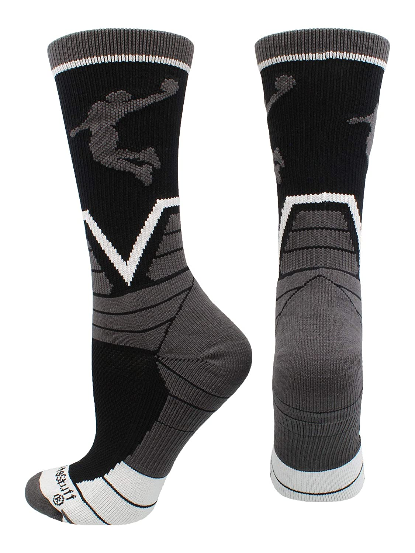 MadSportsStuff ビクトリーバスケットボールソックス クルー丈 プレイヤー付き B07GSS9GW8 ブラック/グラファイト/ホワイト Large