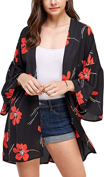 Womens Solid Cardigan 3//4 Bell Sleeve Kimono Open Front Tops Loose Casual Blouse Outwear