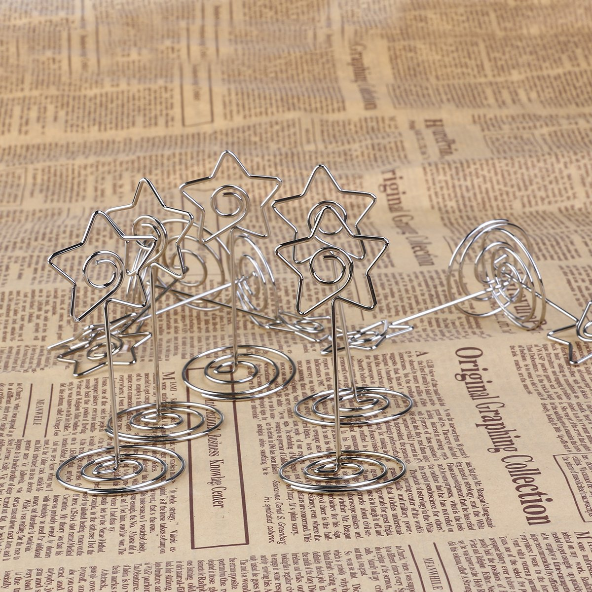 Silver FENICAL 10pcs Photo Holder Card Paper Note Clip Wedding Place Name Card Holders Pentagon Shape Party Favors