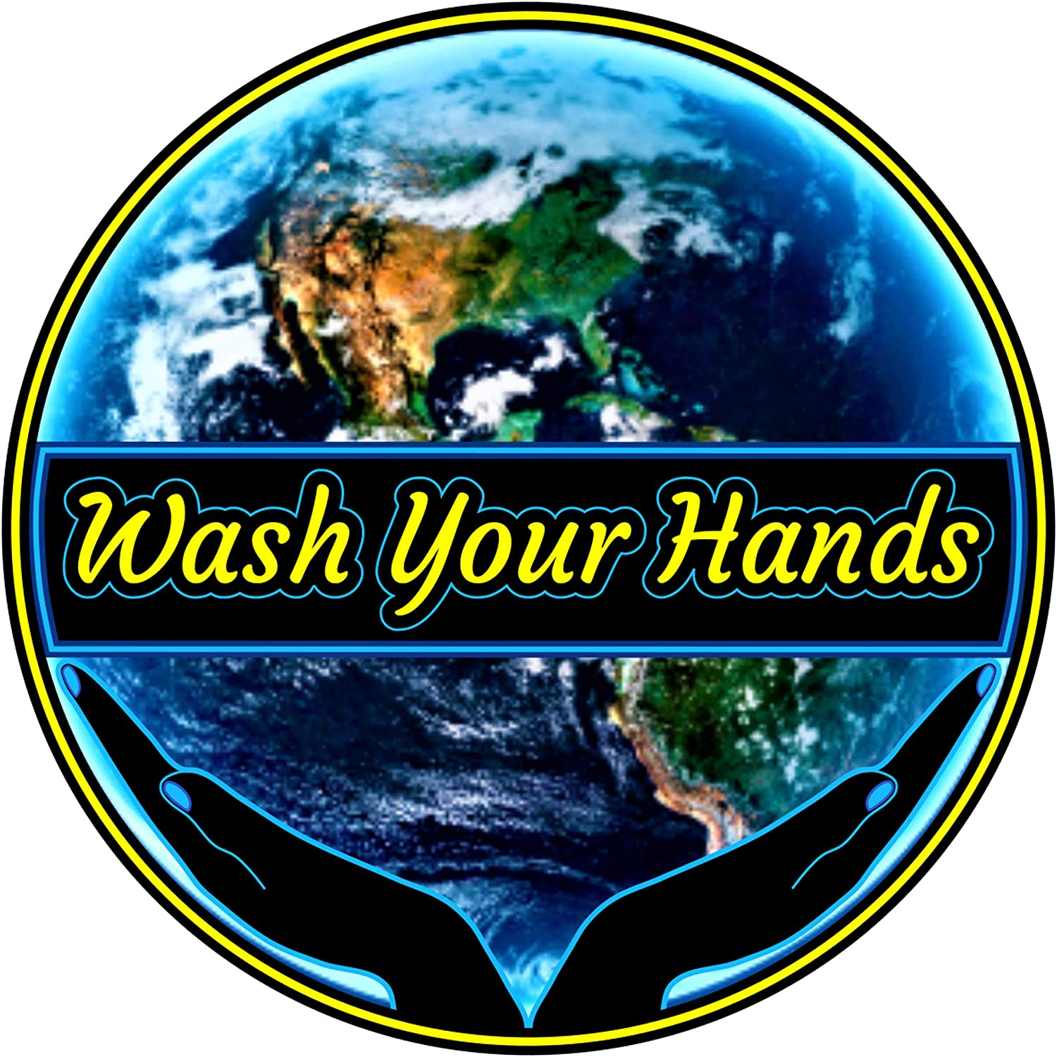 Wash Your Hands Sticker - World Safety in Your Hands Decal 3 X 3 inch | for Sink Mirror Towel & Soap Dispenser Support Hand Washing Vote Joe Biden Kamala Harris Vice-President + Better Than Magnet