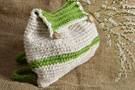 Mochila tejida a crochet para ninos artesanal de moda de color blanquiverde