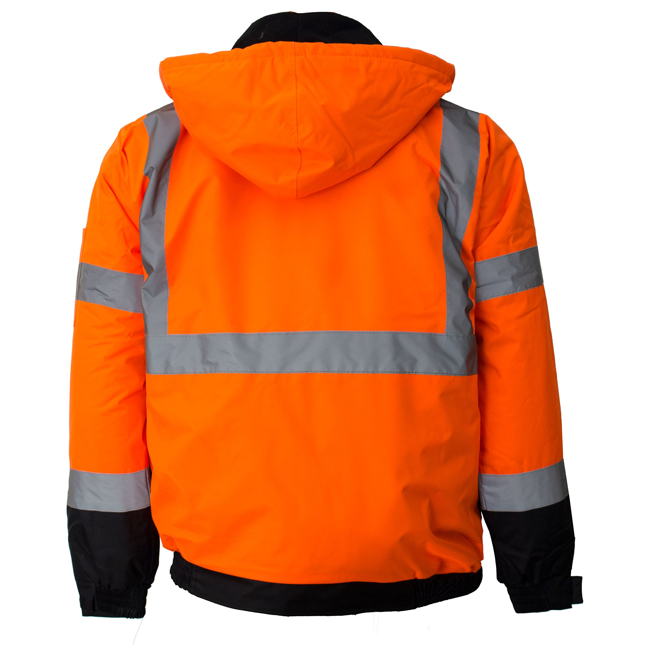 New York Hi-Viz Workwear WJ9011-L Men's ANSI Class 3 High Visibility Bomber Safety Jacket, Waterproof (Large, Orange) by New York Hi-Viz Workwear (Image #4)