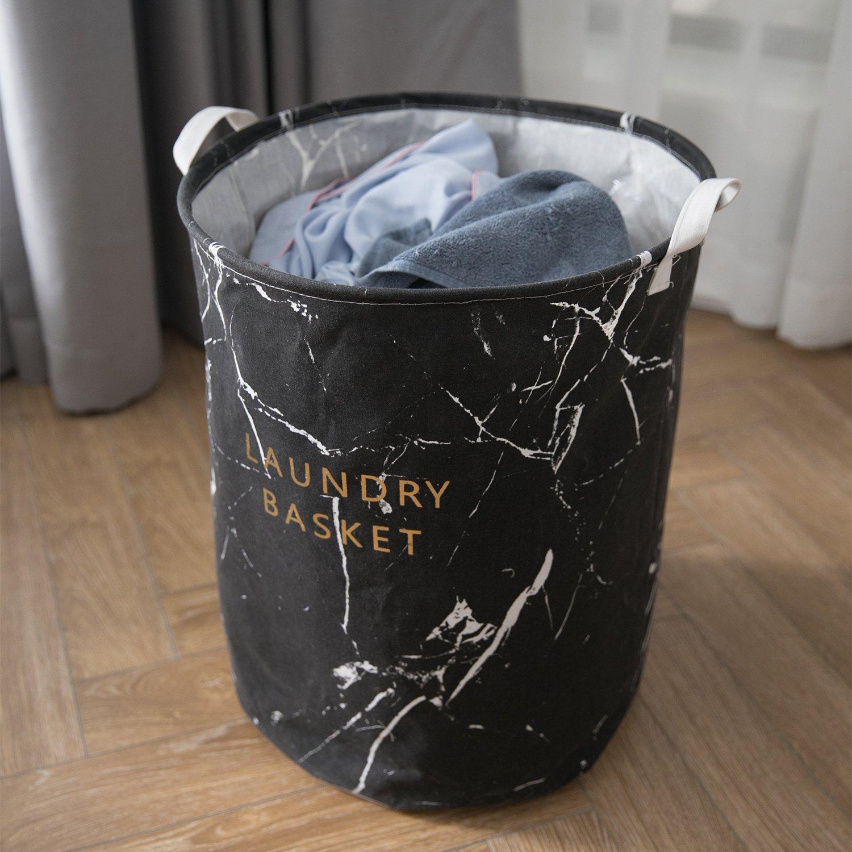 Cotton Fabric 19.7'' Large Sized Waterproof Folding Laundry Hamper Bucket Cylindric Burlap Canvas Storage for Clothes Toys (Black)