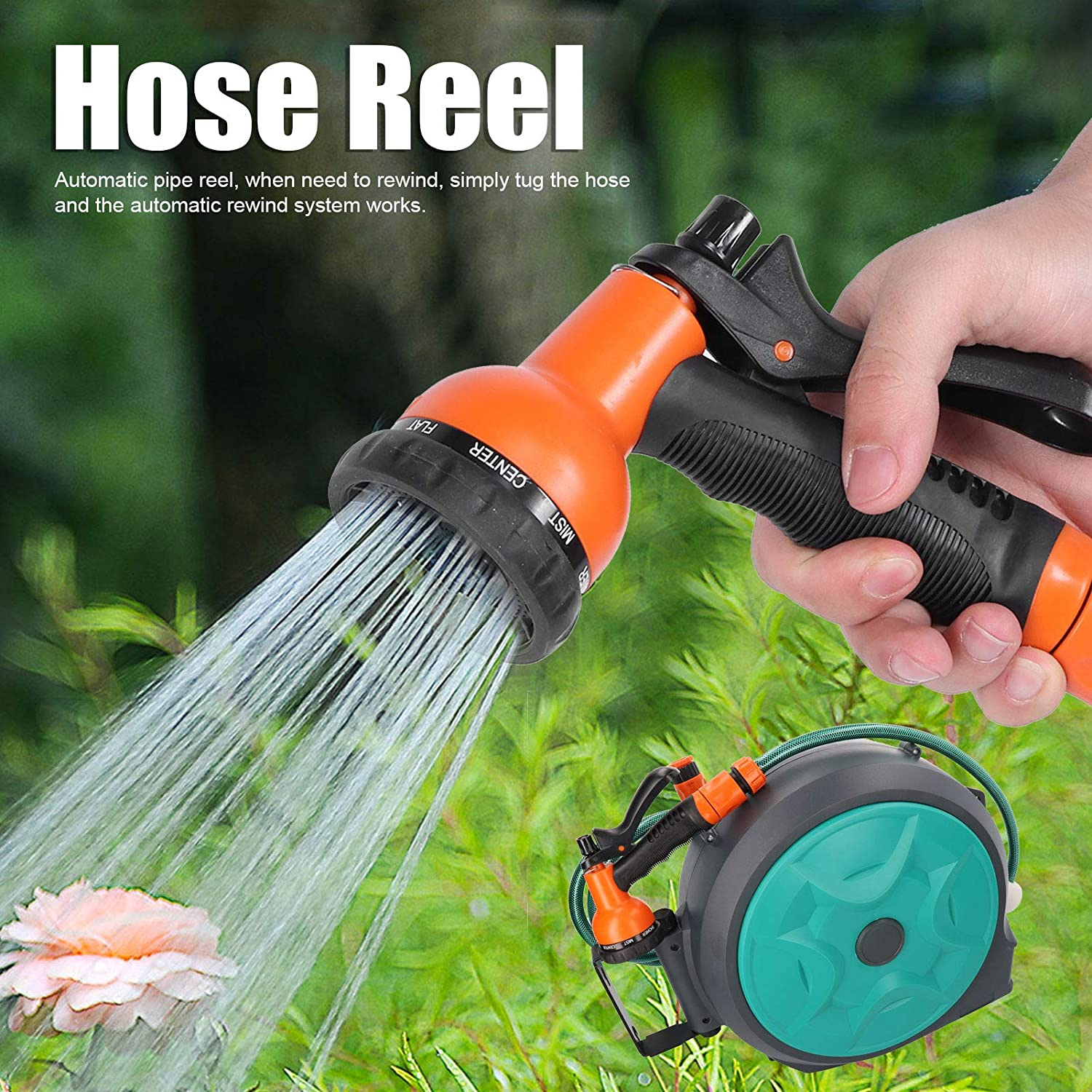 Cikonielf Pipe Reel Wall Mounted Automatic Retractable Garden Hose Reel with 15m Pipe for Garden Garage