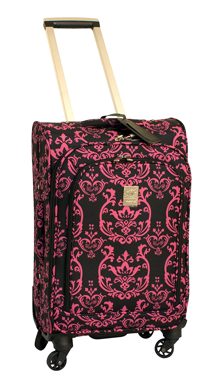 Jenni Chan Damask 360 Quattro 21-Inch Upright Spinner Carry on Luggage, Pink 004-21