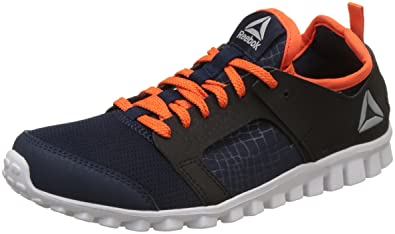 c6e864fbfeab36 Reebok Boy s Amaze Runner Jr Xtreme Navy Bright Lava Sports Shoes - 1.5 UK
