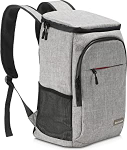 DECECOS Cooler Backpack Grey with Corkscrew Soft Waterproof Adjustable Blanket Fixing Strap, Leak-Proof Insulated Cooler Bag for Keeping Food Warm, Cool and Fresh During Camping, Hiking,Beach,Travel
