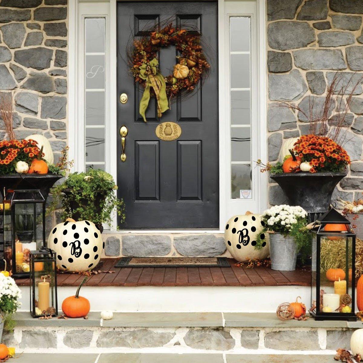 2 Sets Black Letter B Polks Dots Decorating Jack-O-Lanterns Pumpkins Fall Decor Vinyl Decals Halloween Decorations Party Favors