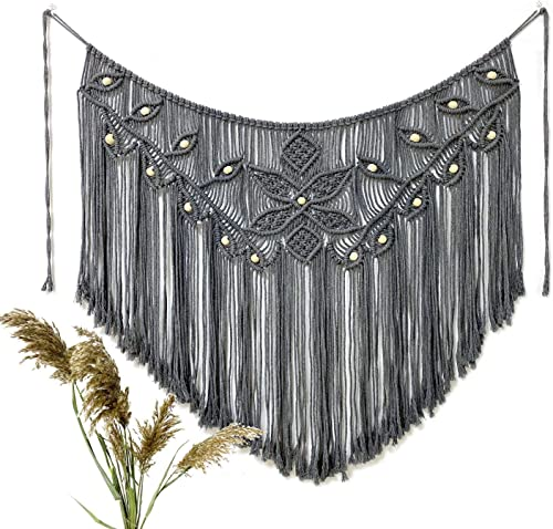Youngeast Home Decor Leaf Shape Macrame Wall Hanging Woven Tapestry Bedroom Curtain Fringe Garland Banner Living Room Wall Decor Grey 39X31 inches