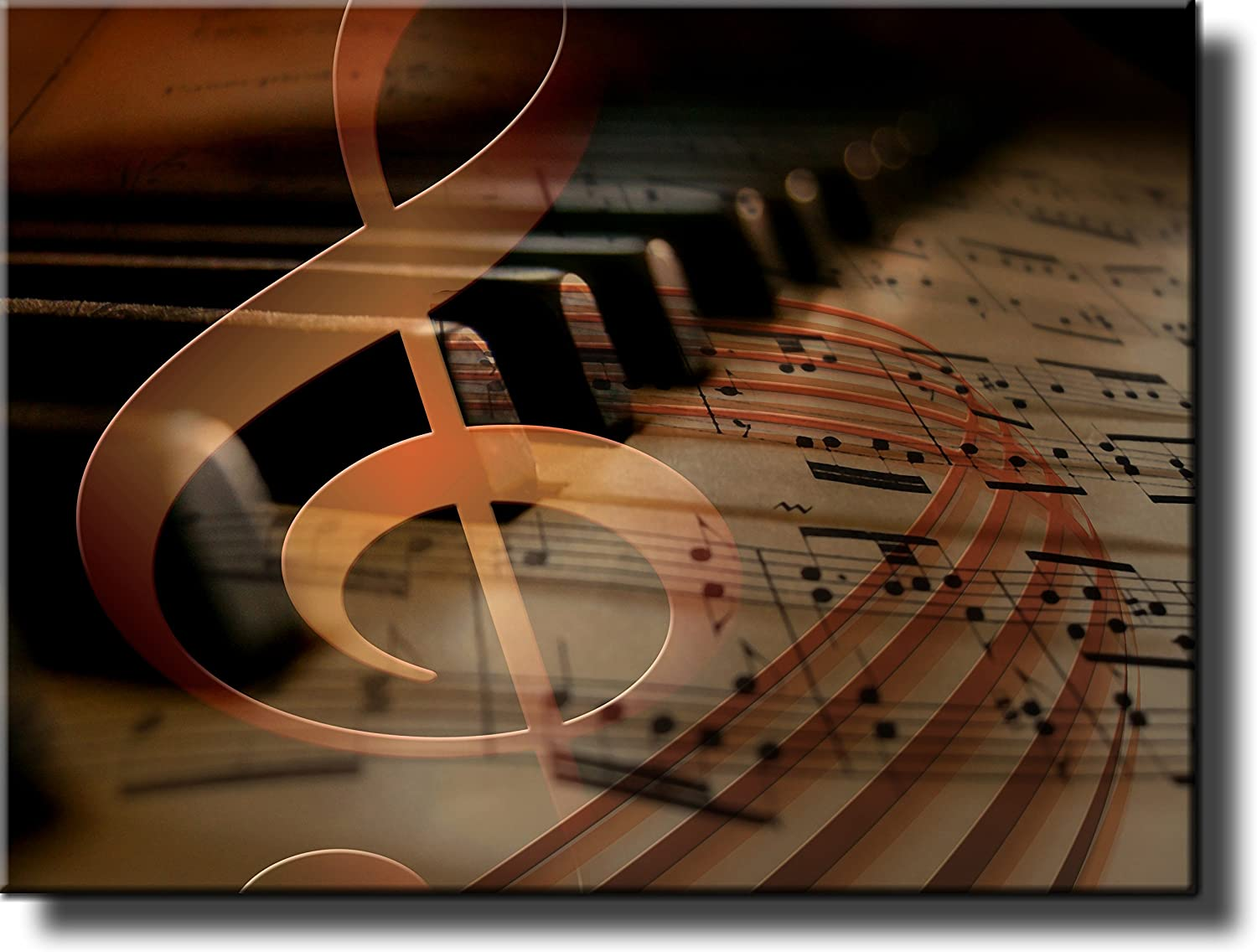 Music Notes Piano Picture Made on Stretched Canvas, Wall Art Decor Ready to Hang!.