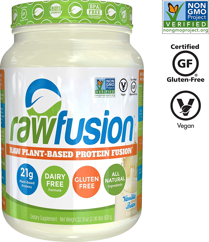 SAN Nutrition RawFusion Plant Protein Powder, Vanilla Bean, 32.9 Ounce