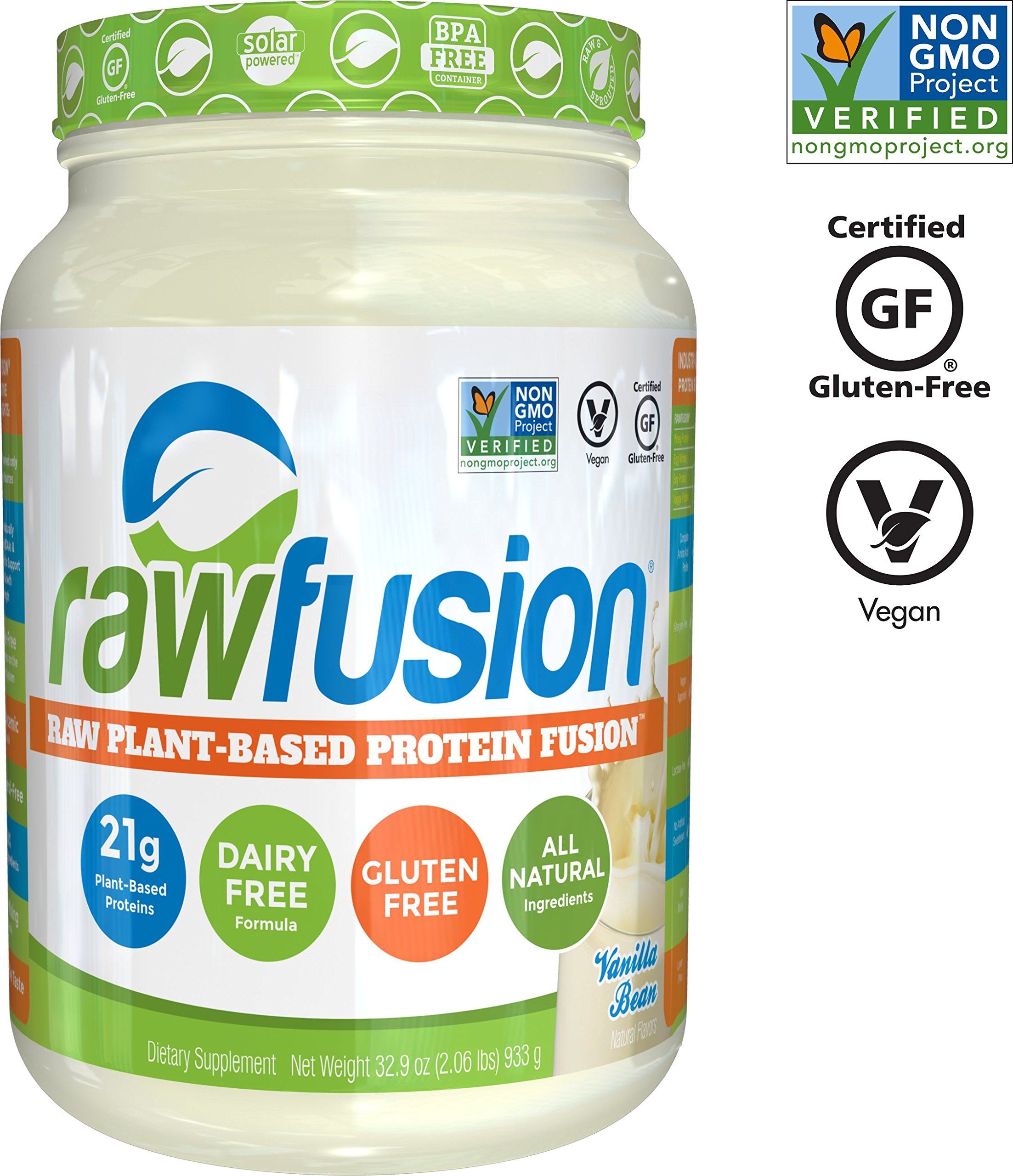 SAN Nutrition RawFusion Plant Protein Powder, Vanilla Bean, 32.9 Ounce by SAN