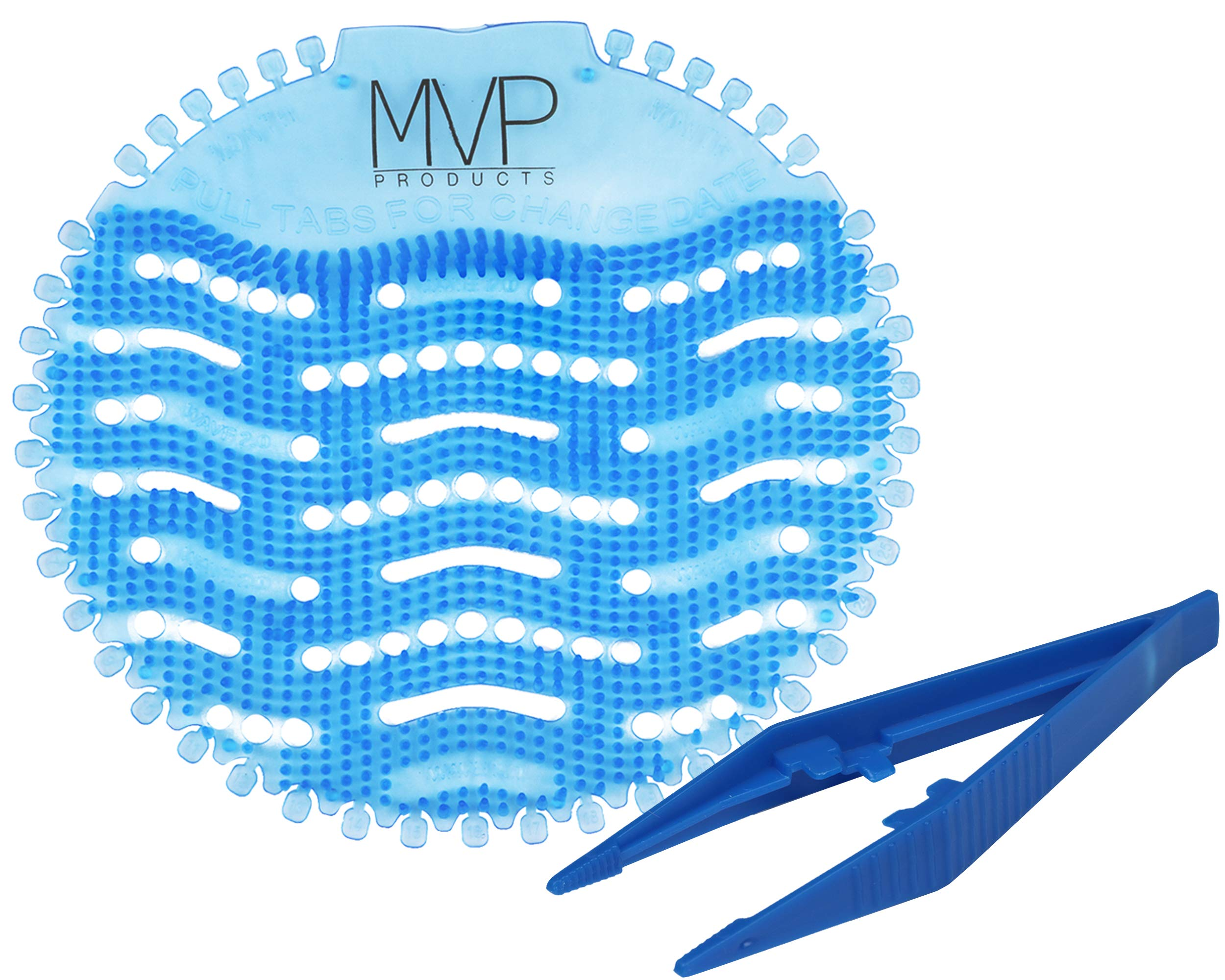 Urinal Screens Deodorizer - Splash Free Pad, Urinal Cakes Odor Neutralizer, Fragrance Diffuser, Bathroom and Toilet Drain Freshener - 30 Days, 5000 Flushes, Janitorial Supplies - 12 Pack with Tweezer by MVP Products LLC