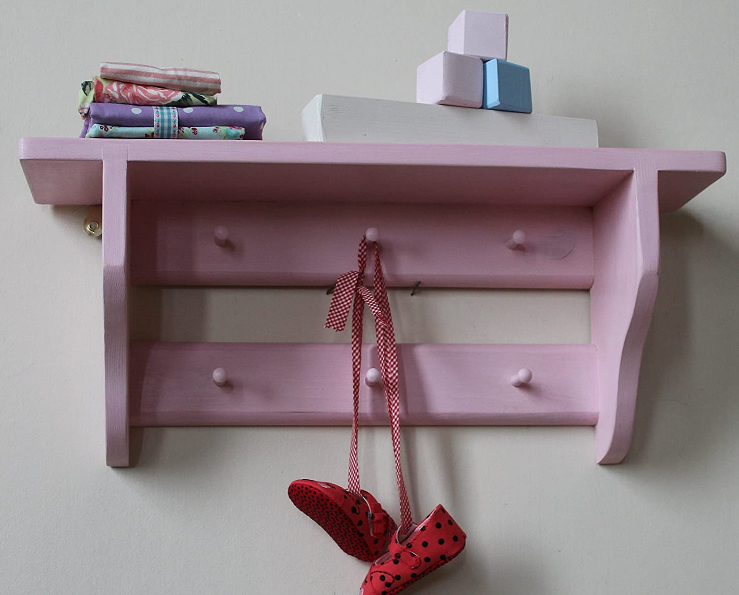 Shakers style nursery shelf, double rail of pegs, 6 pegs, Rose Blush shabby chic finish Goodwood Originals DSHAKERS6RB