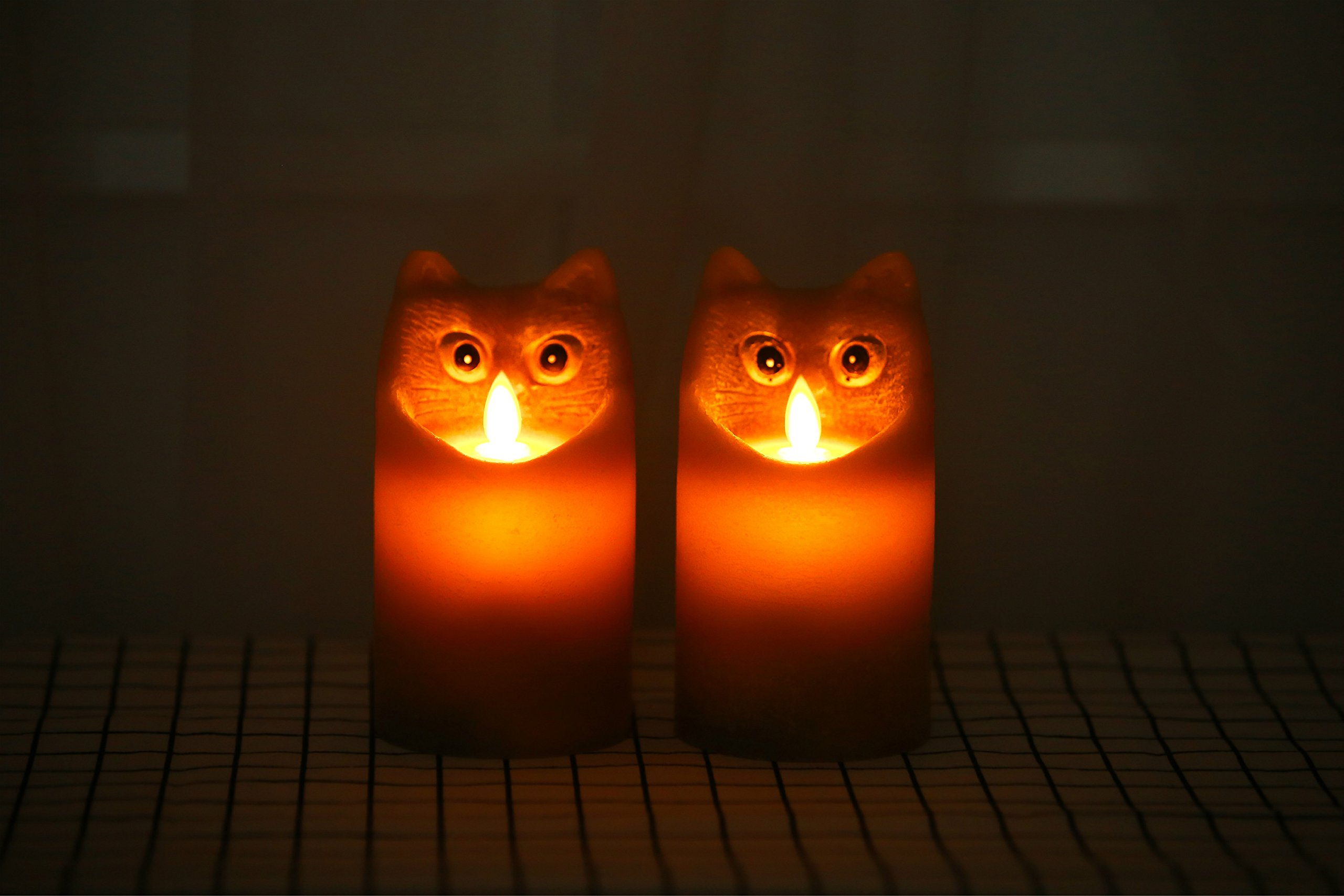 Kitch Aroma Marble Grey Color Cartoon Cat Flameless Candle with Timer For Birthday Gifts,Dia 3'' x H6'',Pack of 2 by Kitch Aroma (Image #9)