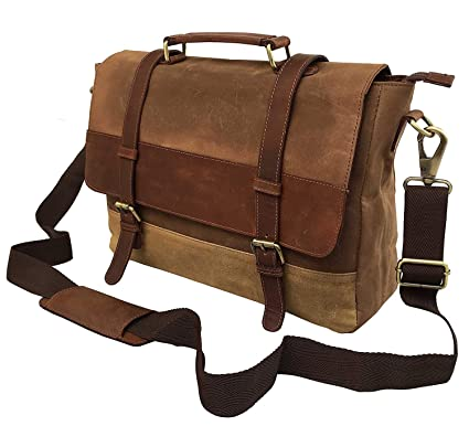 d1494ded5 Image Unavailable. Image not available for. Color: Dhk 18 Inch Mens  Messenger Bag Vintage Waxed Canvas Genuine Leather ...