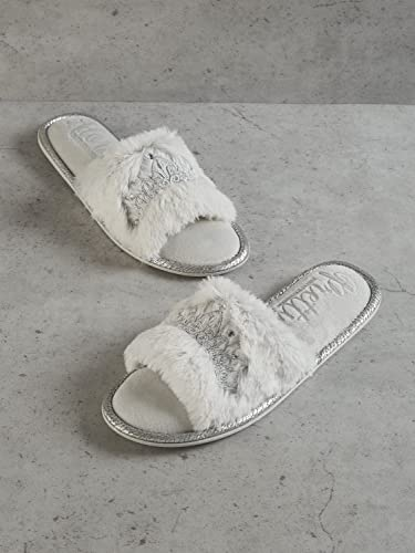 4053d29af23 Pretty You Womens Womens Taylor Faux Fur Slide Slippers in Grey - UK 7.5-8.5