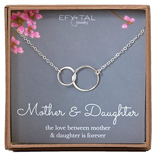 Mother Daughter Necklace - Sterling Silver Two Interlocking Infinity Double Circles, Mothers Day Jewelry Birthday