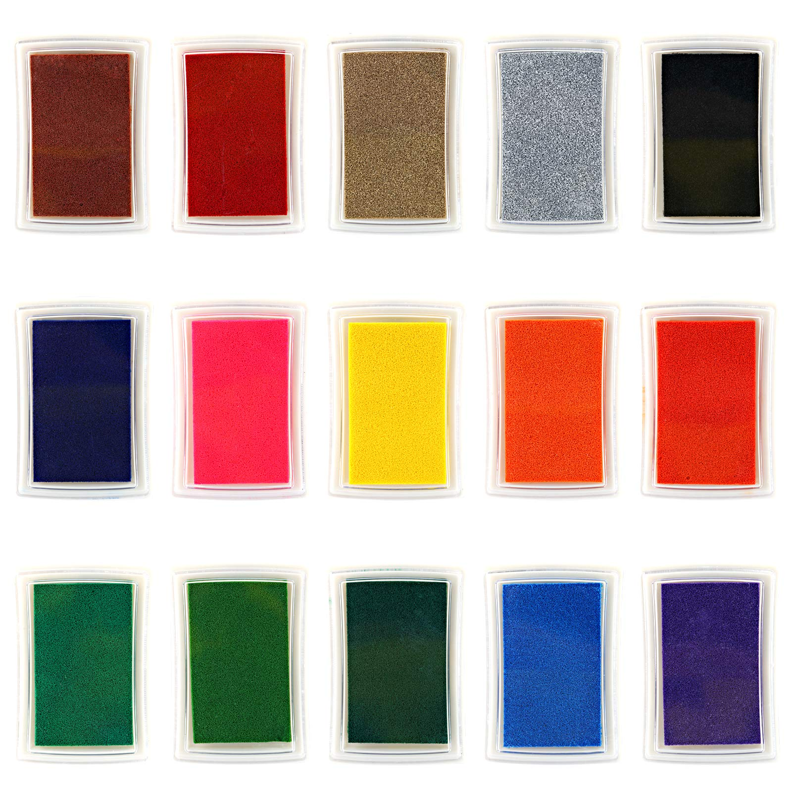 Kesoto Craft Ink Pad Stamps, 15 Color Craft Ink Pad for Stamps, Paper, Wood Fabric - Pack of 15