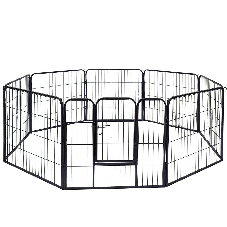 Speedwellstar – Noir 8Côté jusqu'à 1m de haut Grande pour animal domestique Bille Whelp Play Cage en métal Chien Courir 3000