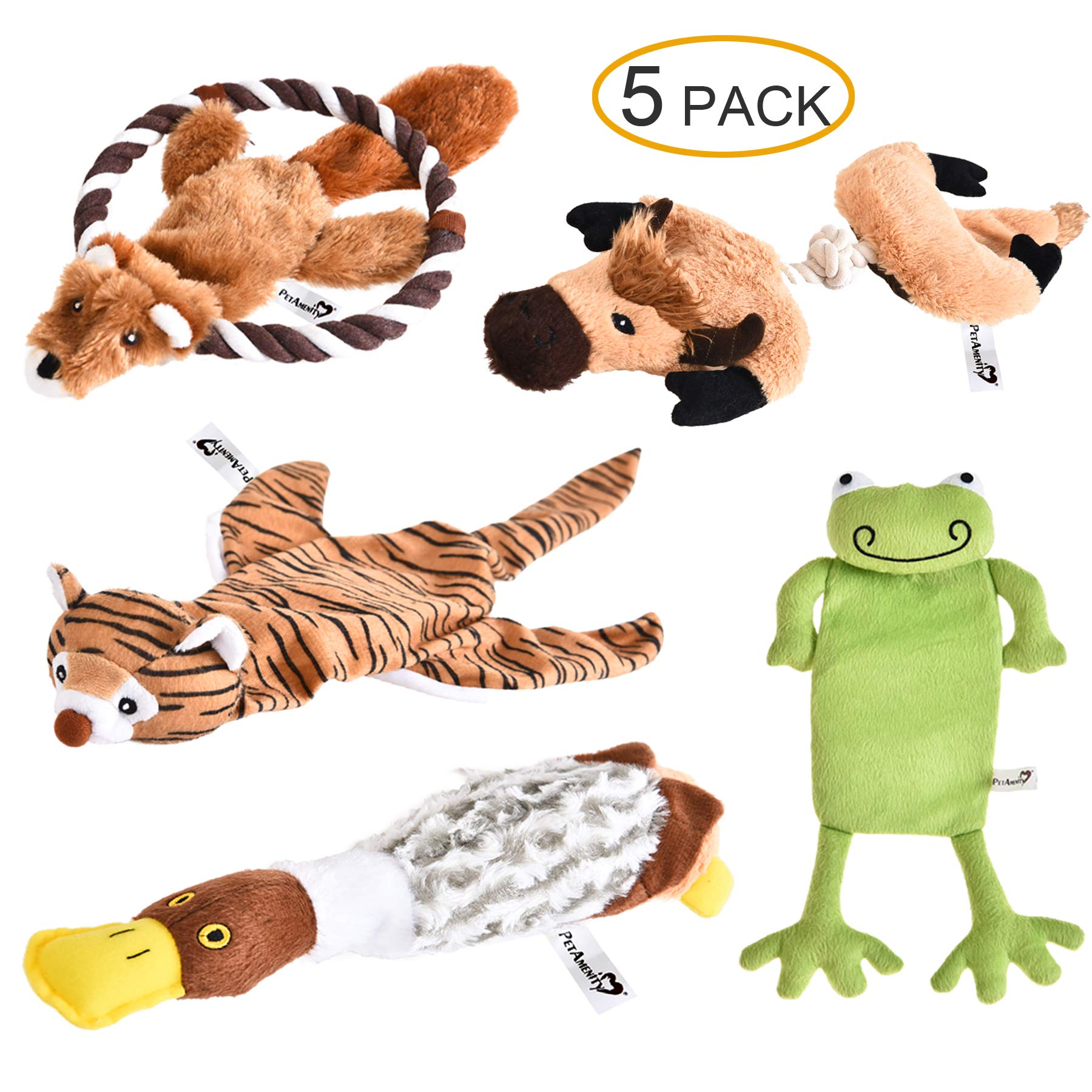 PetAmenity 5 Pack Premium Plush Dog Toys, Crinkle and Squeaky, Stuffingless and Low Stuffing, Irresistible and Tough Dog Chew Toys for Small, Medium, Large Dogs by PetAmenity