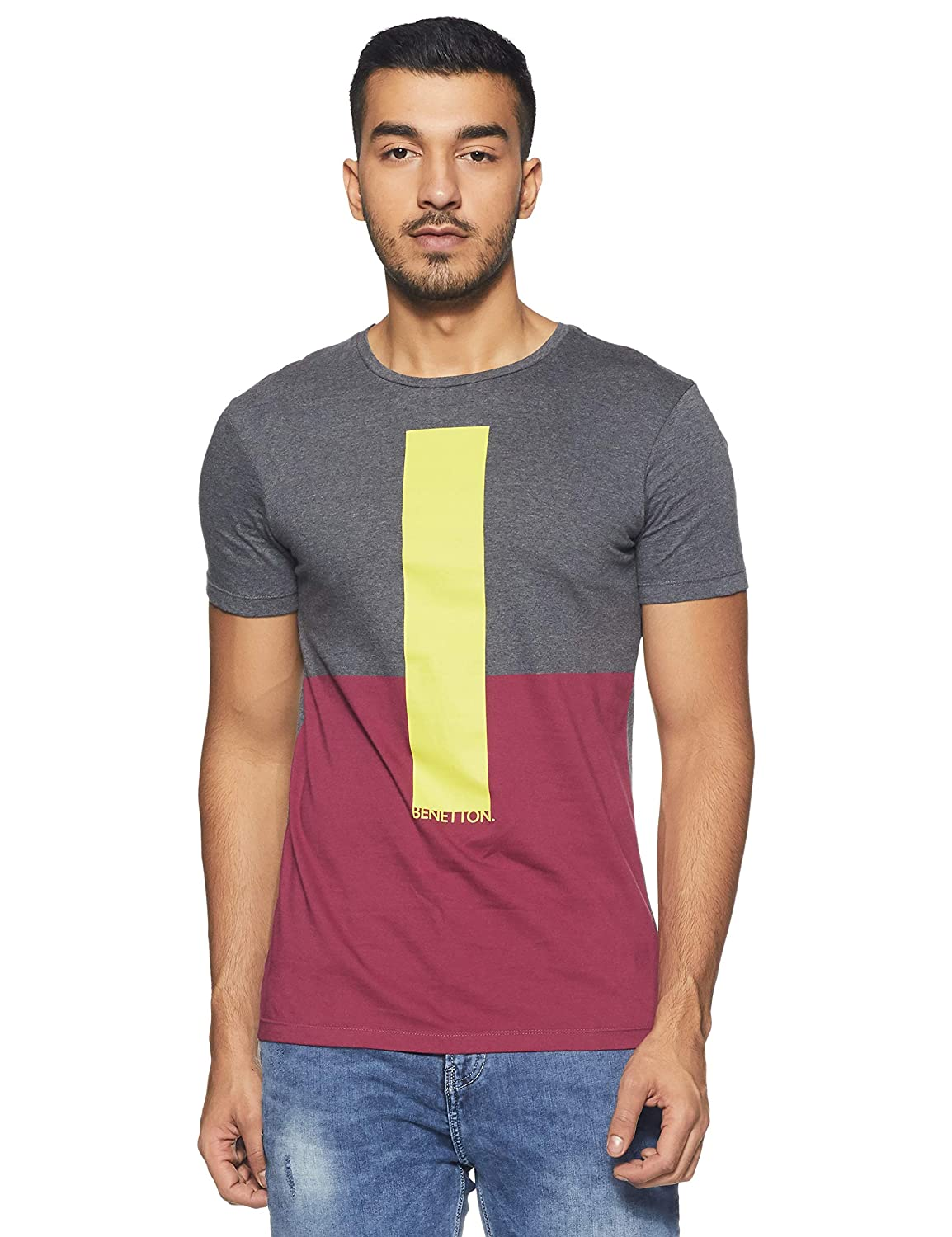 51ed1516 United Colors of Benetton Men's Striped Regular Fit T-Shirt