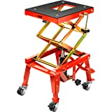 VIVOHOME 350 Lbs Heavy Duty Hydraulic Motorcycle Lift Table Foot Operated ATV Dirt Bike Scissor Jack Stand with 4 Wheels