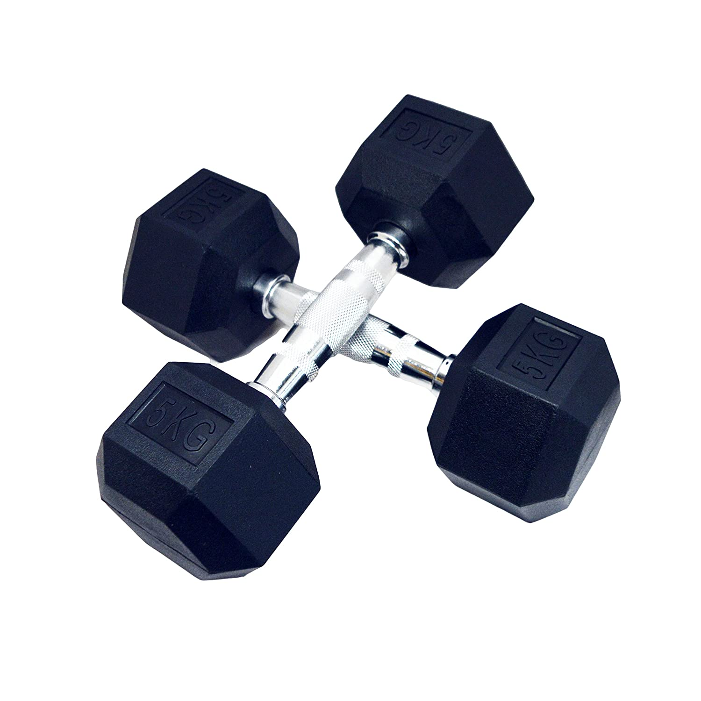 FH Pro negro, pesas hexagonales de caucho gimnasio hexabell (par ...