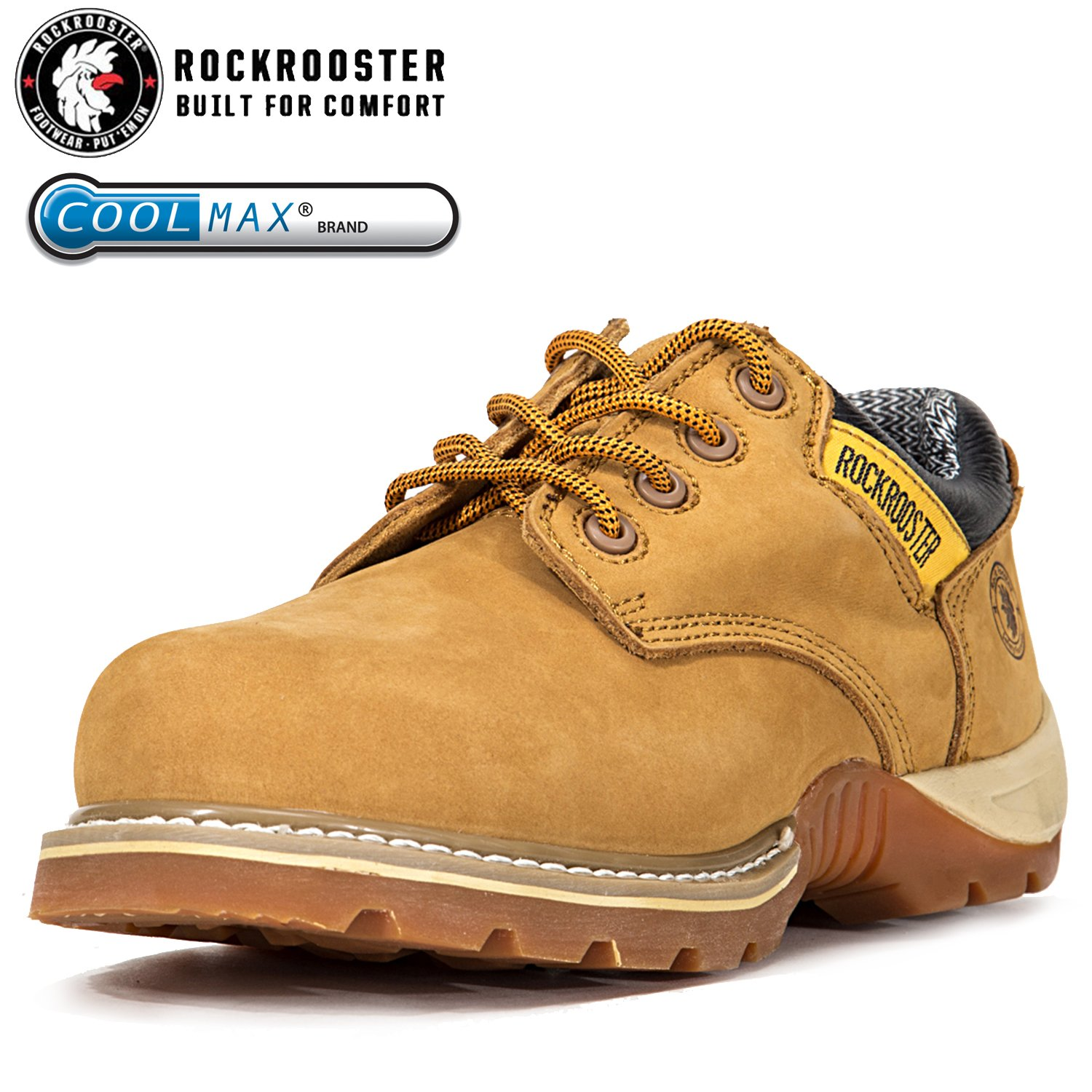 ROCKROOSTER Men's Work Boots, Composite/Steel Toe, Safety Water Resistant Leather, Women Shoes ltd