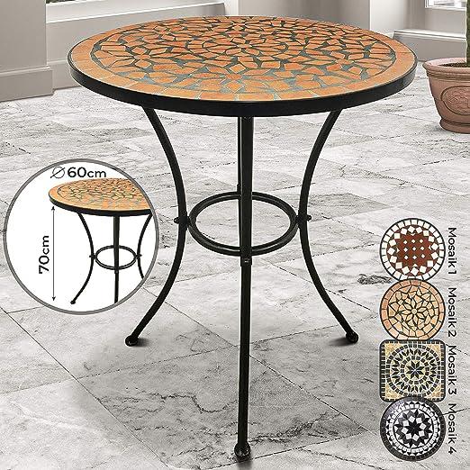 Mesa Mosaico Redonda - Ø/Altura: 60x70cm, Rojo-Blanco, Cerámica, Robusta y Estable - de Jardin, Balcón, Terraza: Amazon.es: Jardín