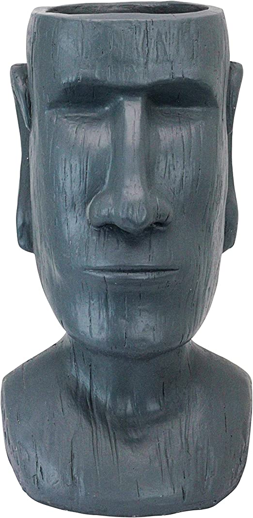 Diseño Toscano al1917 Isla de Pascua Massive megalito Moai Head Maceta Estatua, Gris Piedra, 22,86 x 24.13 x 45,72 cm: Amazon.es: Jardín