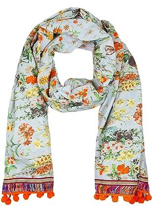 0098aac3da3c86 Anokhi Damen Tuch BULMA Stickereien grey bunch one size: Amazon.de ...