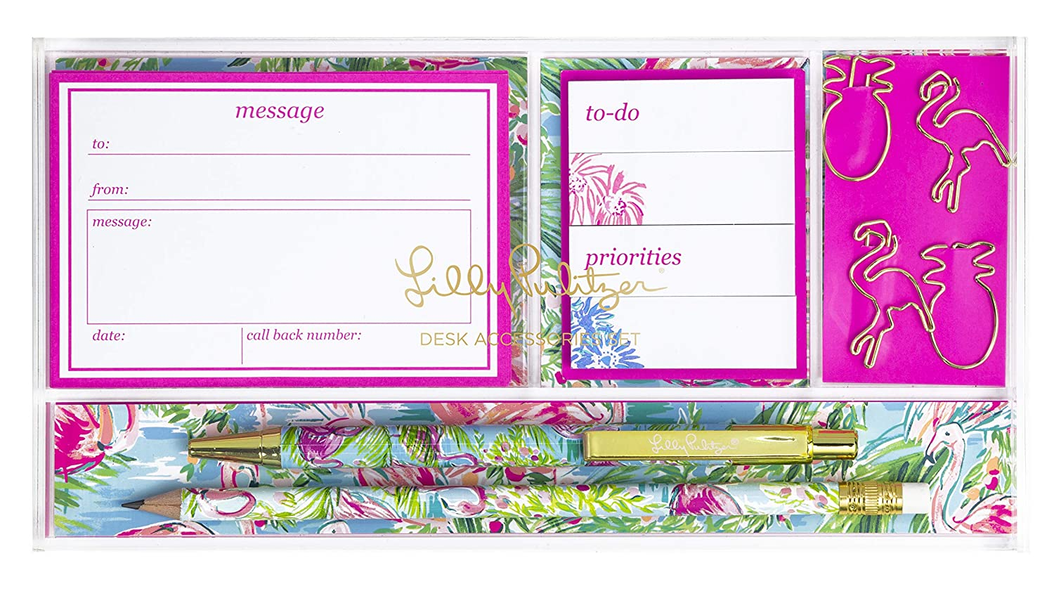 Lilly Pulitzer Womens Desk Accessories Set | Includes a Pen & Pencil, Tab Sticky Notes, Paper Clips, Loose Note Sheets | Floridita