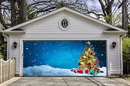 holiday christmas tree garage door covers banners outdoor merry christmas decorations billboard full color for 2