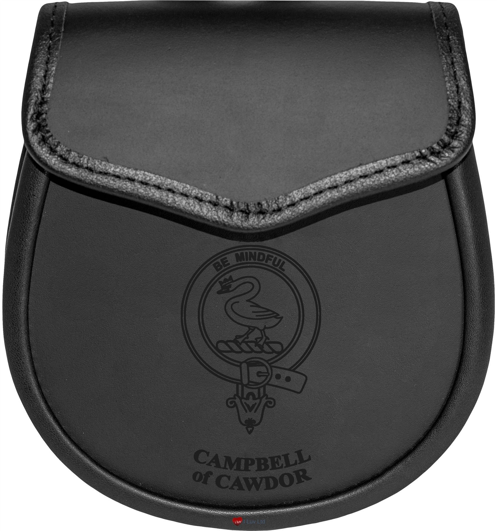 Campbell of Cawdor Leather Day Sporran Scottish Clan Crest
