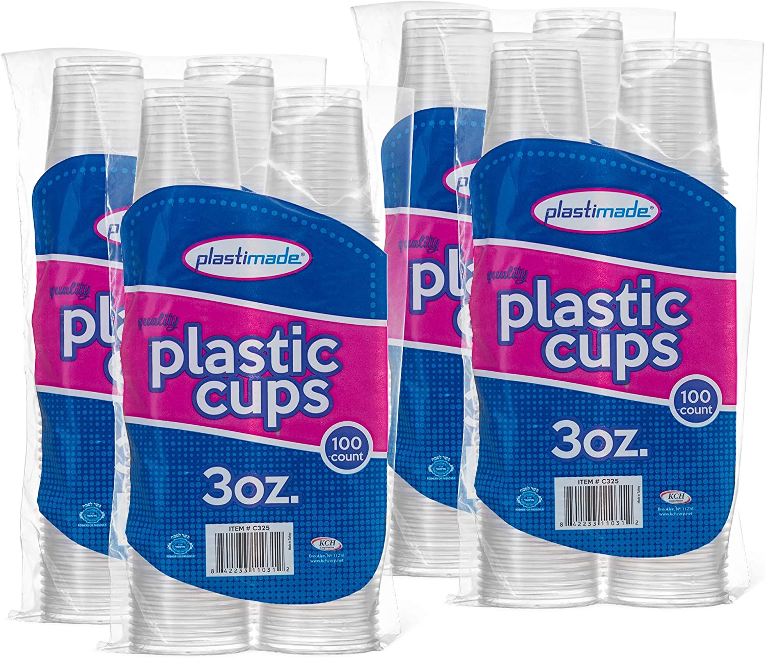 [400 Count] PlastiMade 3 Oz Clear Plastic Disposable Reusable Cups For Drinking, Bathroom, Rinsing, Test, Medication, Party, Home, Office, Water, Juice, Kids. 4 Pack
