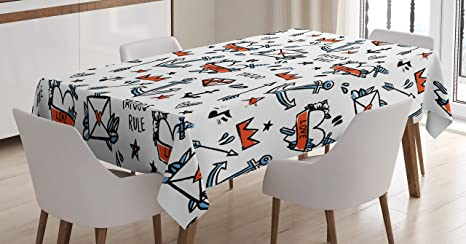 Amazon Com Lunarable Tattoo Tablecloth Various Designs Heart With Crown Anchor Arrow Star Illustration Rectangular Table Cover For Dining Room Kitchen Decor 60 X 90 Vermilion Blue And Black Home