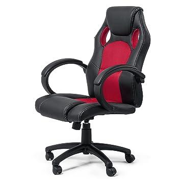 MY SIT Silla de Oficina Silla de Escritorio Gaming Racing giratorio Recubrimiento de PU Reposabrazos Asiento ajustable diseño Rojo