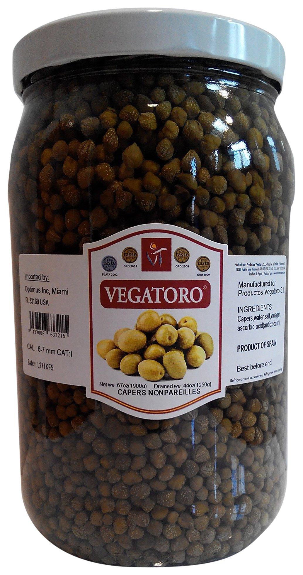 Vegatoro Capers Nonpareilles in Brine, 67 oz.