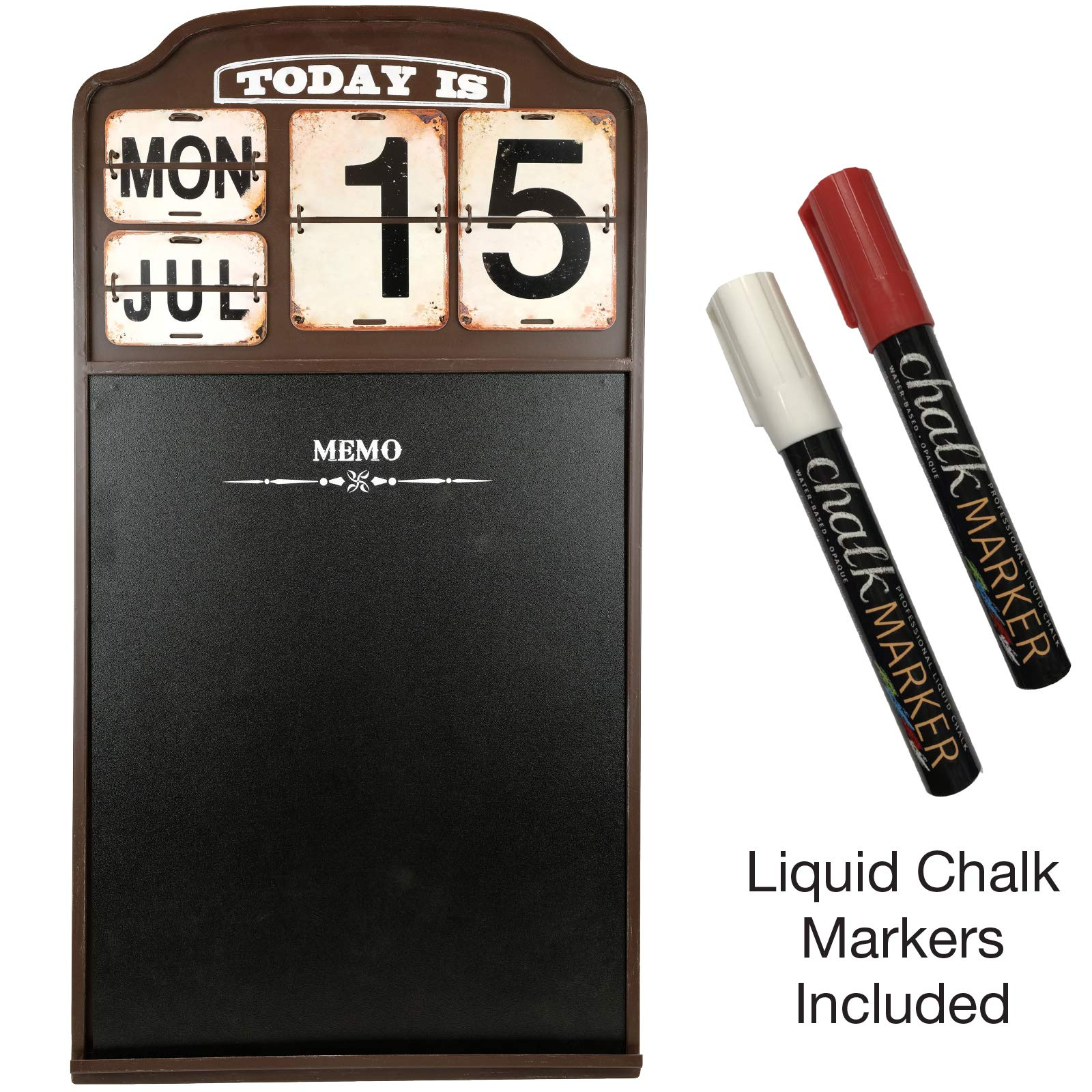 Iron Wall Mounted Sturdy Metal Hanging Chalkboard Sign with Vintage Flip Calendar Chalkboard and 2 Bonus Liquid Chalk Markers by Excello Global Products