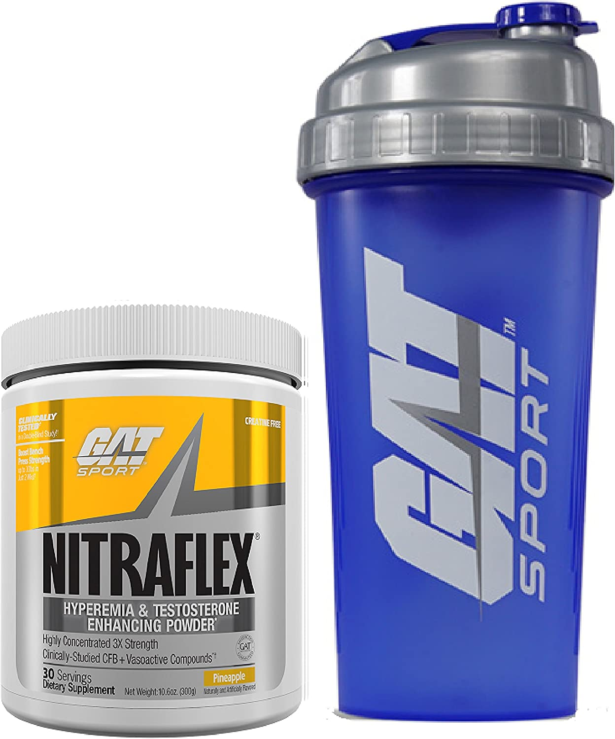 GAT Clinically Tested Nitraflex, Testosterone Enhancing Pre Workout 300 g 30 servings with BONUS GAT Shaker Bottle Pineapple